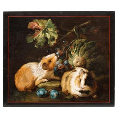 Important Micromosaic of Two Guinea Pigs Eating Cabbage and Grapes