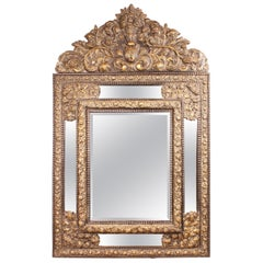 Important Mirror of the 19th Century of the Netherlands in Brass