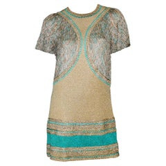 Important Missoni Turquoise and Gold Crochet Knit Dress
