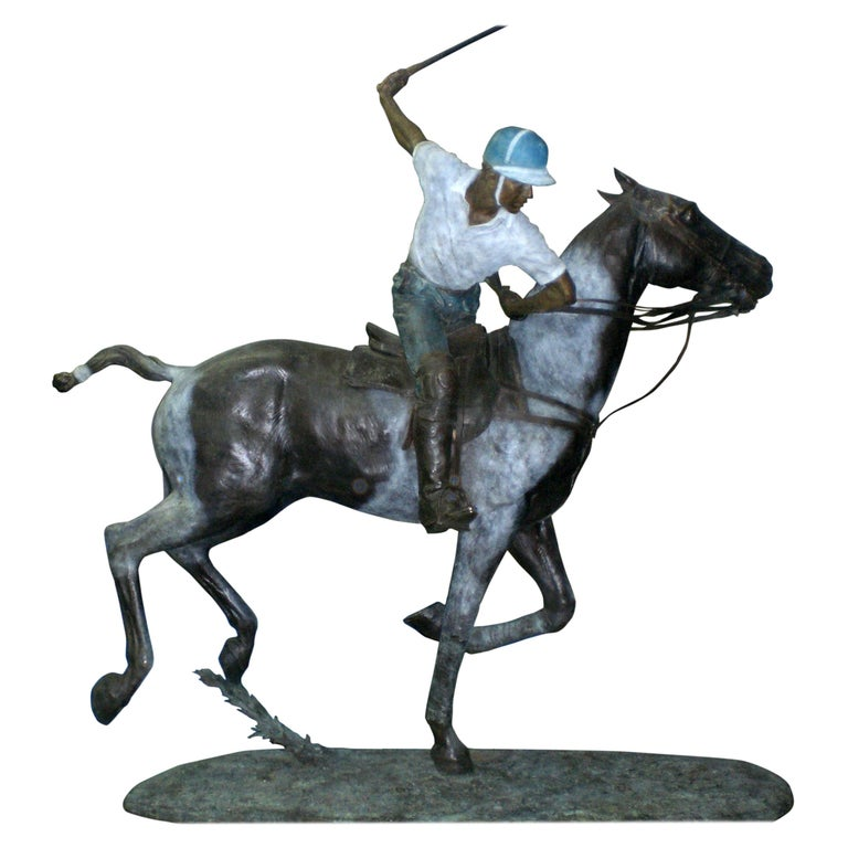 Important Monumental Life-Size Bronze Sculpture of Polo Player William Behrends For Sale