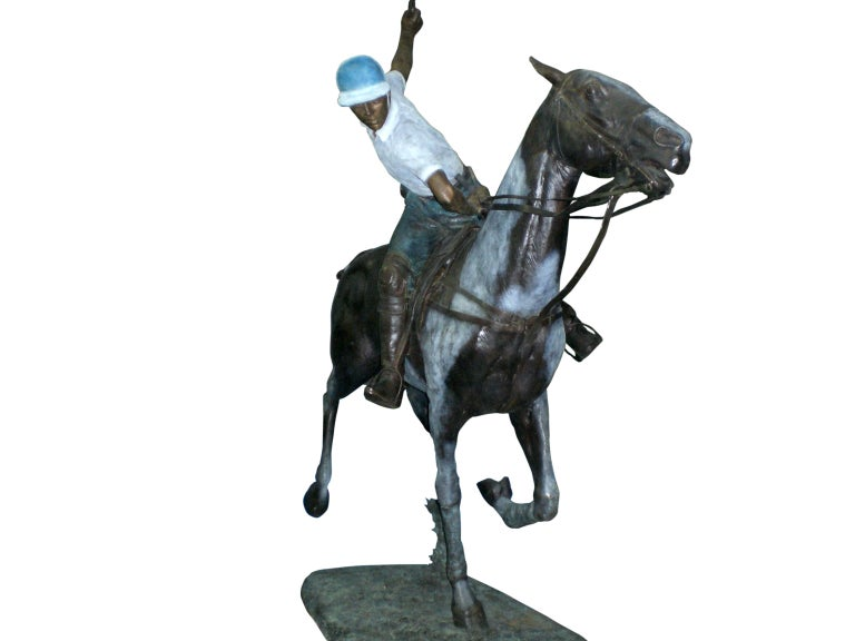 Modern Important Monumental Life-Size Bronze Sculpture of Polo Player William Behrends For Sale