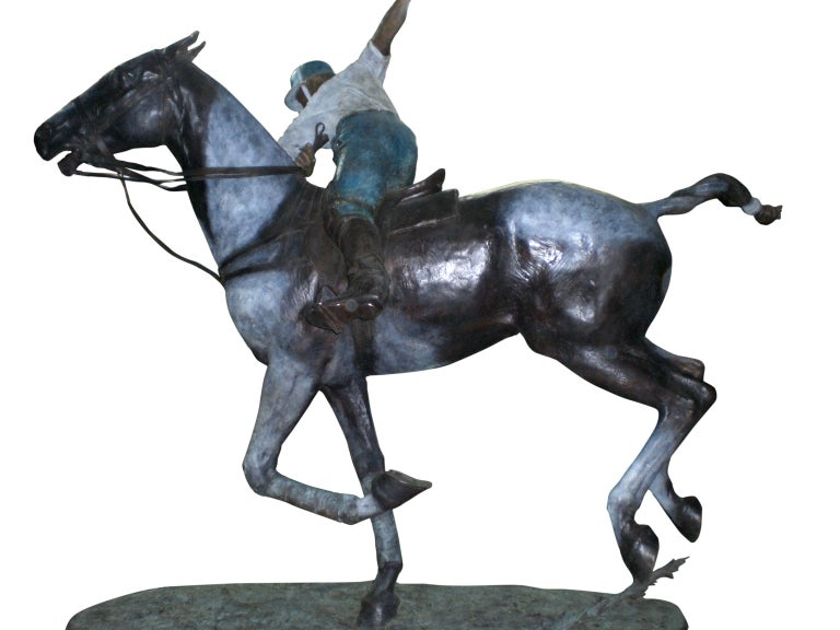 American Important Monumental Life-Size Bronze Sculpture of Polo Player William Behrends For Sale