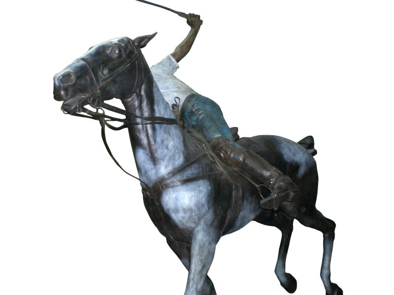 Important Monumental Life-Size Bronze Sculpture of Polo Player William Behrends In Good Condition For Sale In New York City, NY