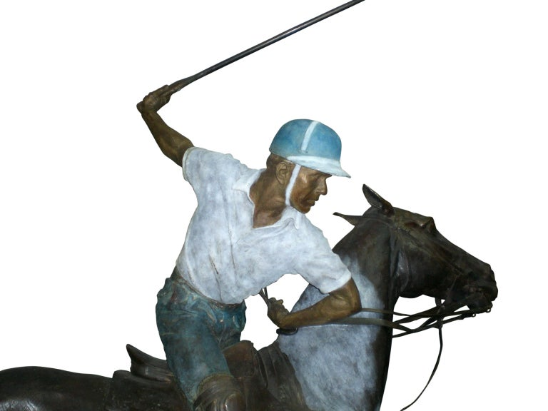 20th Century Important Monumental Life-Size Bronze Sculpture of Polo Player William Behrends For Sale