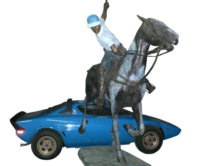 Important Monumental Life-Size Bronze Sculpture of Polo Player William Behrends For Sale 3