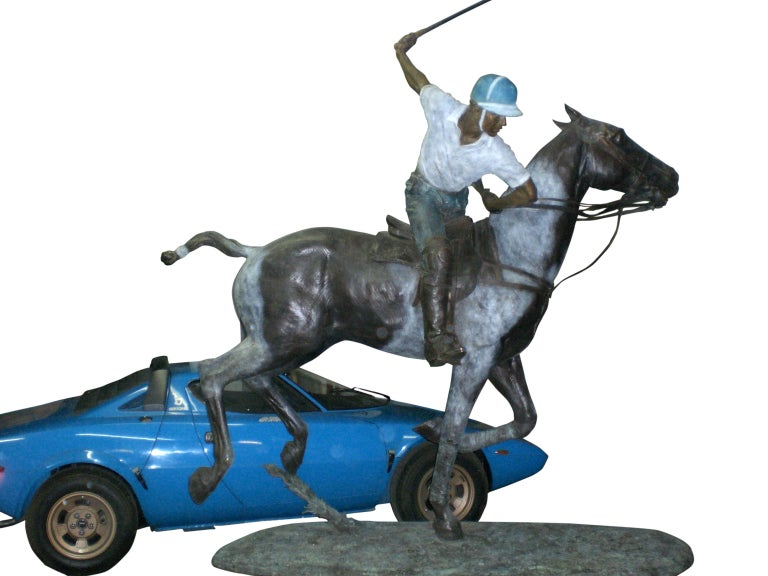 Important Monumental Life-Size Bronze Sculpture of Polo Player William Behrends For Sale 2