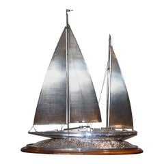 Important Museum Quality Huge Tiffany & Co. Solid Sterling Silver Sailing Yacht