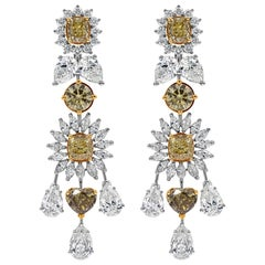 Important Natural Fancy Color Diamond Chandelier Earrings