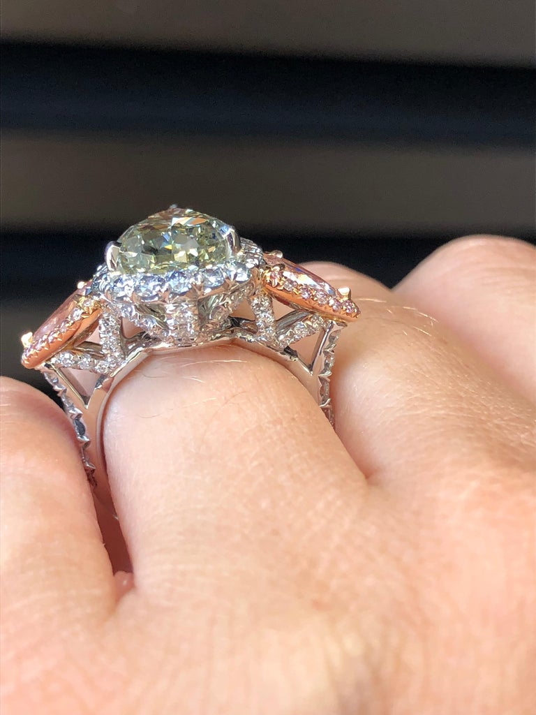 Green Blue Diamond Ring 5 Carat GIA Certified For Sale 5