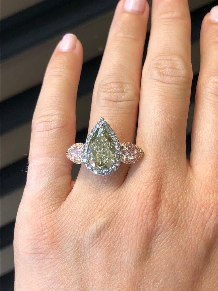 Women's Green Blue Diamond Ring 5 Carat GIA Certified For Sale