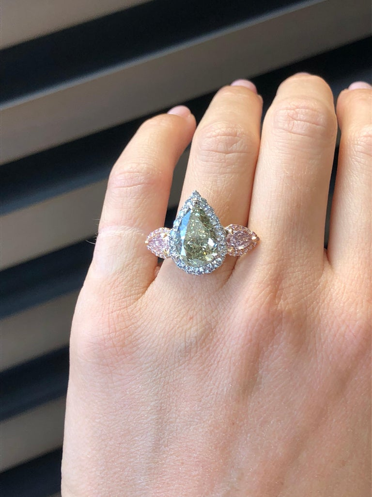 Green Blue Diamond Ring 5 Carat GIA Certified For Sale 1