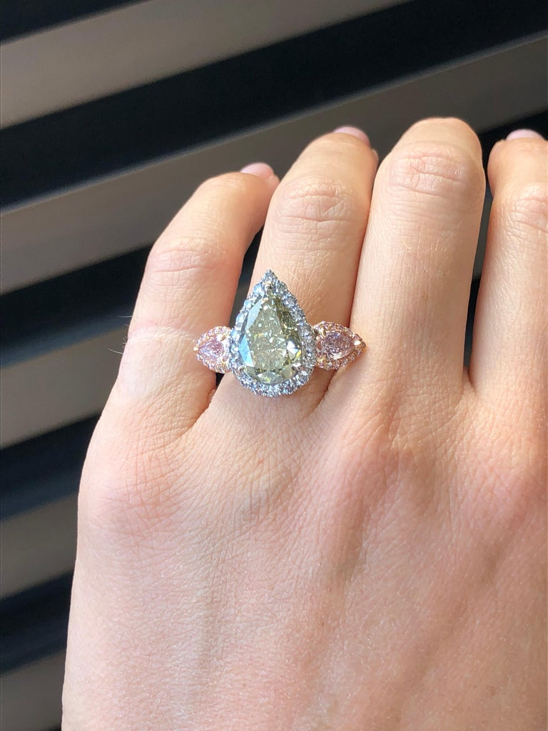 Green Blue Diamond Ring 5 Carat GIA Certified For Sale 2