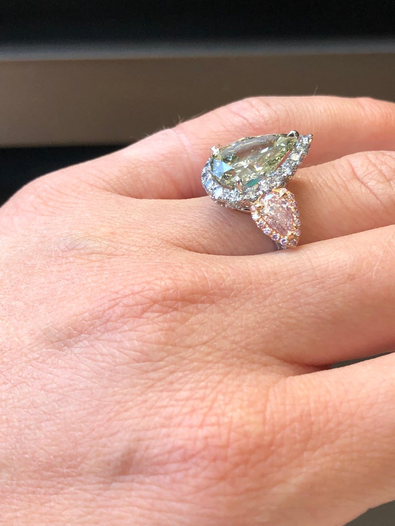 Green Blue Diamond Ring 5 Carat GIA Certified For Sale 3