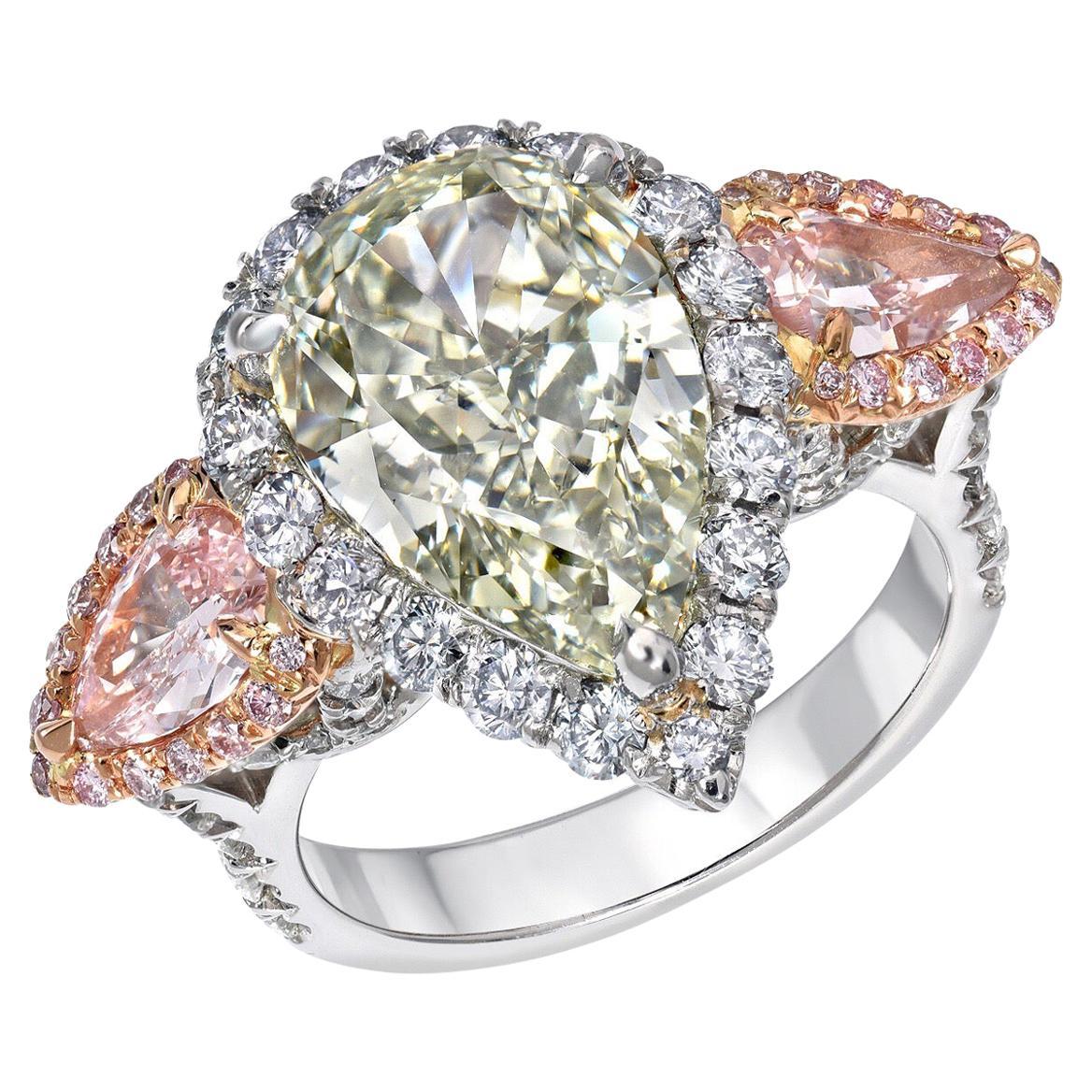 Green Blue Pink Diamond Ring 5.16 Carat GIA Certified