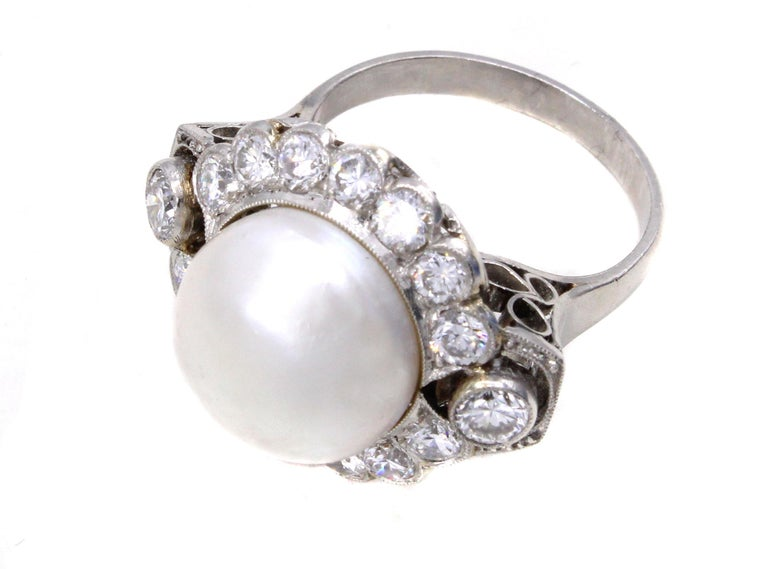 Round Cut Important Natural Saltwater Pearl Diamond Platinum Ring For Sale