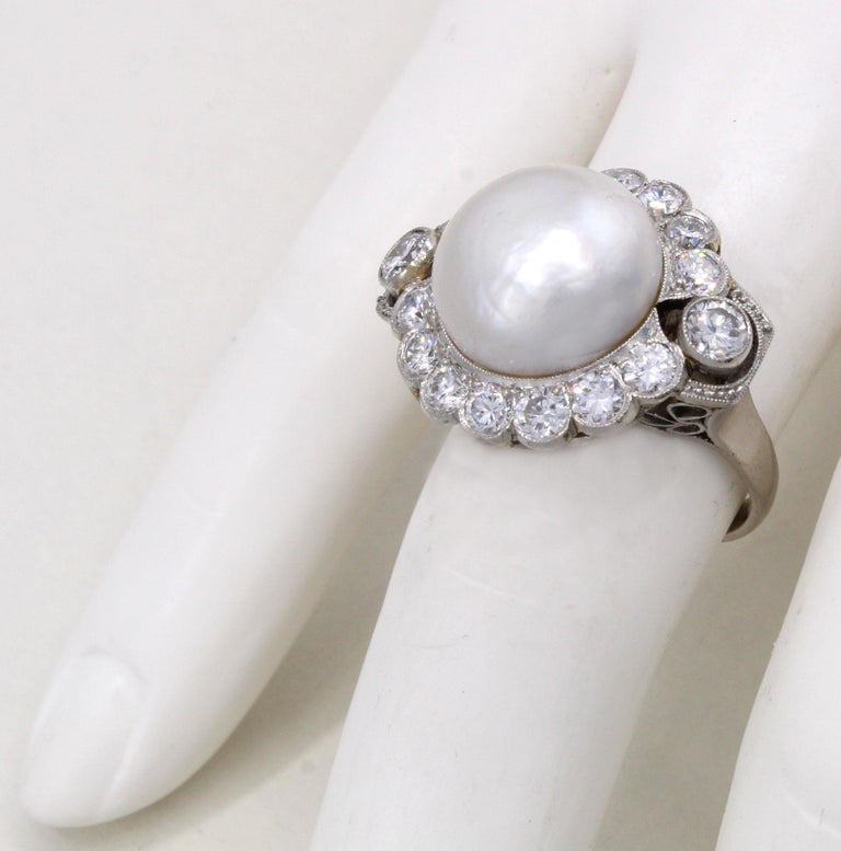 Women's or Men's Important Natural Saltwater Pearl Diamond Platinum Ring For Sale