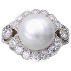 Important Natural Saltwater Pearl Diamond Platinum Ring