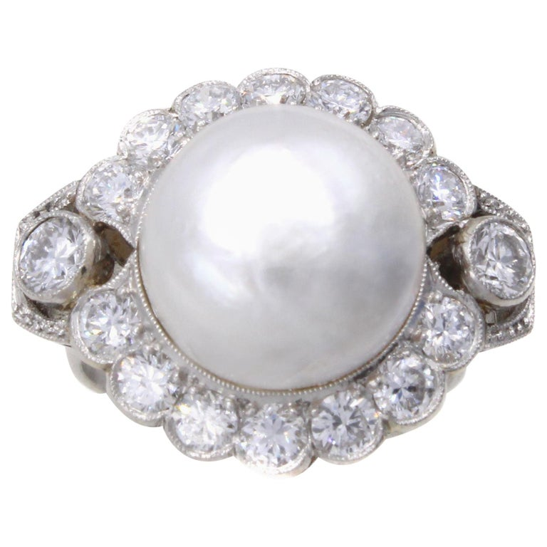 Important Natural Saltwater Pearl Diamond Platinum Ring For Sale