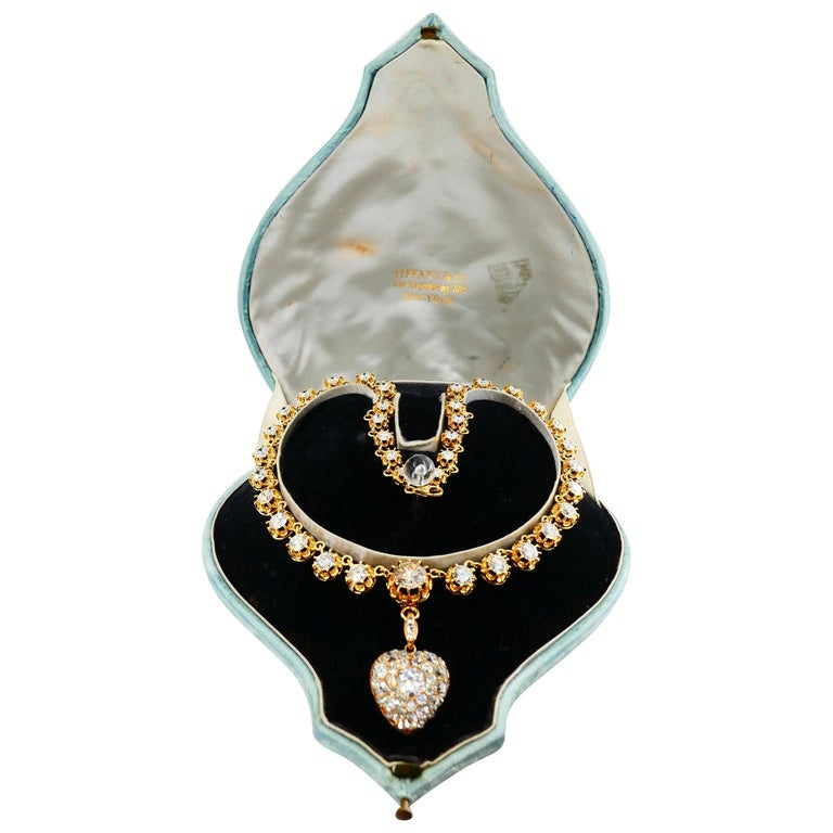 Important Old Mine Cut Heart Locket Pendant and Diamond Necklace, Certified For Sale