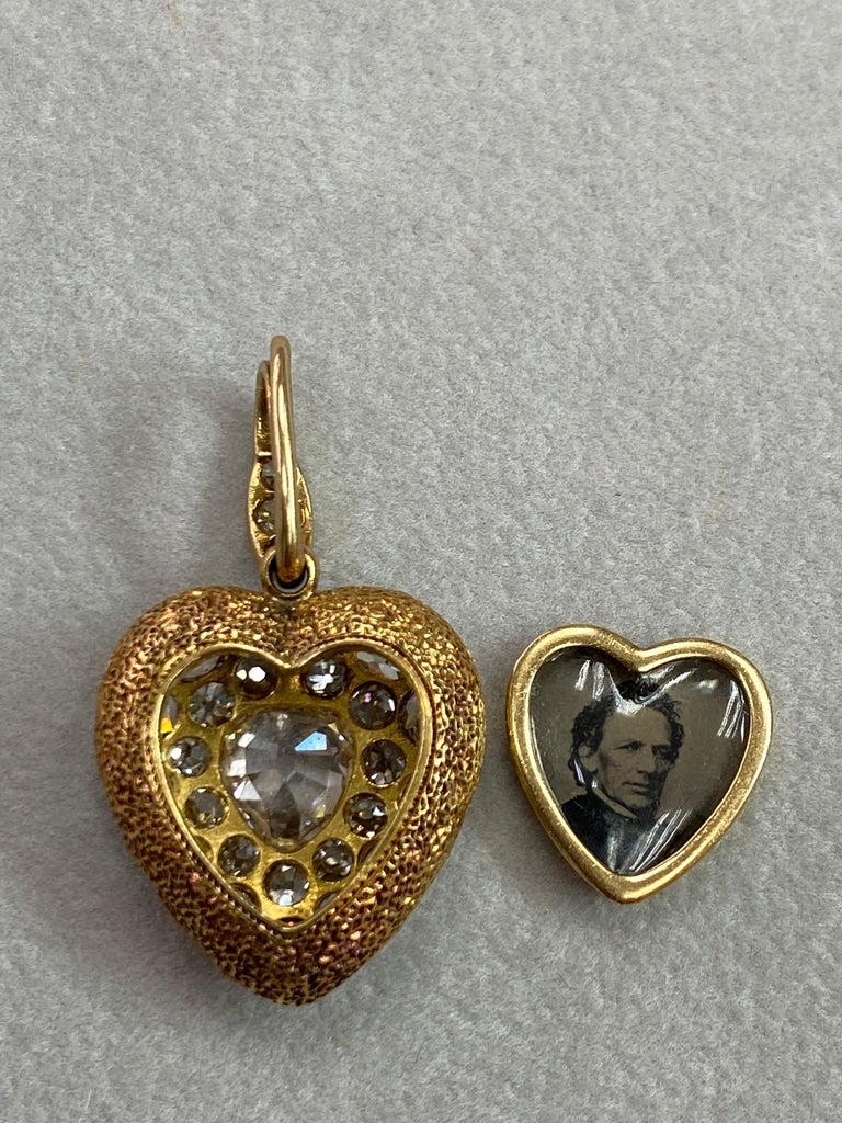 Important Old Mine Cut Heart Locket Pendant and Diamond Necklace, Certified For Sale 9