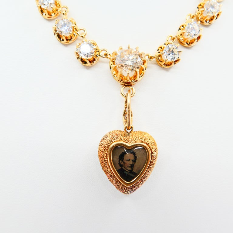 Important Old Mine Cut Heart Locket Pendant and Diamond Necklace, Certified For Sale 10