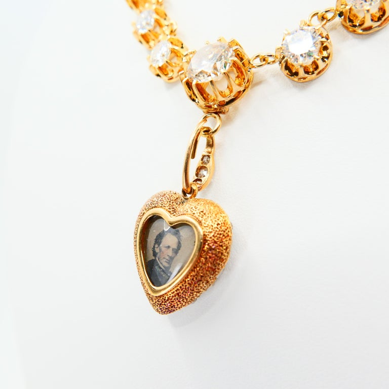 Important Old Mine Cut Heart Locket Pendant and Diamond Necklace, Certified For Sale 11