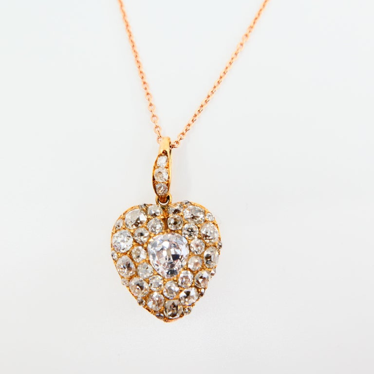 Important Old Mine Cut Heart Locket Pendant and Diamond Necklace, Certified For Sale 14