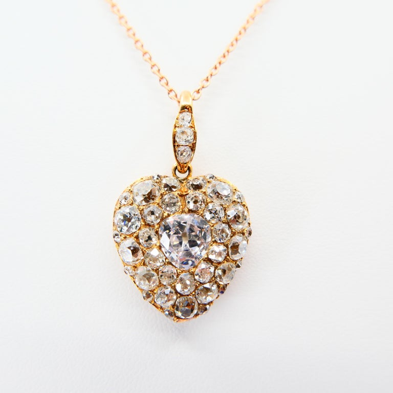 Important Old Mine Cut Heart Locket Pendant and Diamond Necklace, Certified For Sale 3