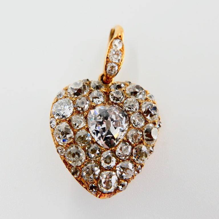 Important Old Mine Cut Heart Locket Pendant and Diamond Necklace, Certified For Sale 7
