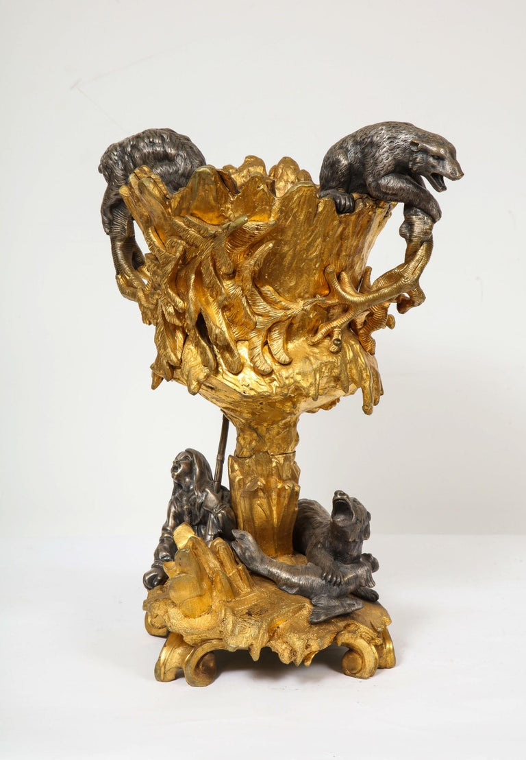 Important Ormolu and Silvered Bronze Figural Wine Cooler, Possibly Russian, 1860 For Sale 7