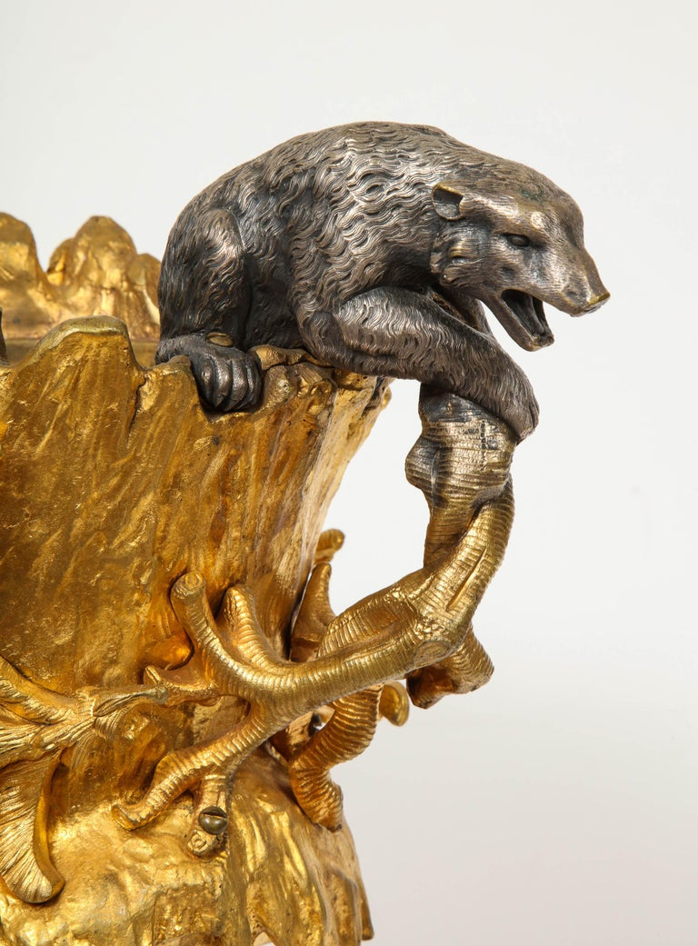 Important Ormolu and Silvered Bronze Figural Wine Cooler, Possibly Russian, 1860 For Sale 8