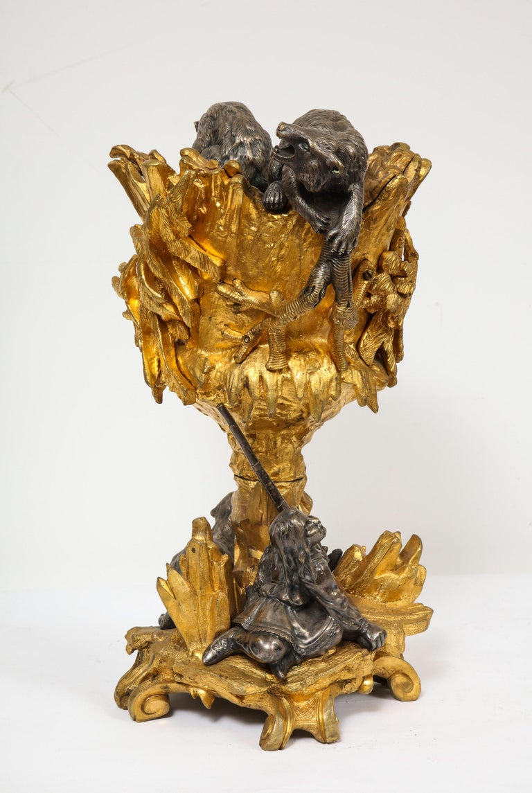 Important Ormolu and Silvered Bronze Figural Wine Cooler, Possibly Russian, 1860 For Sale 12