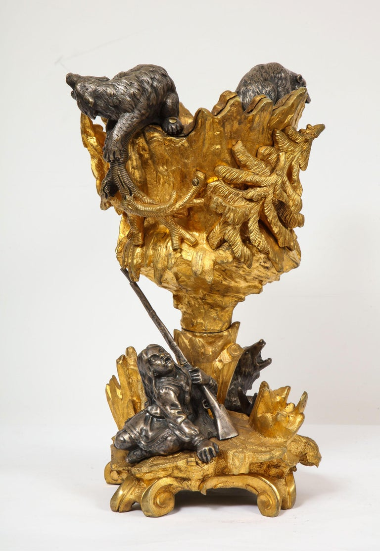Important Ormolu and Silvered Bronze Figural Wine Cooler, Possibly Russian, 1860 In Good Condition For Sale In New York, NY