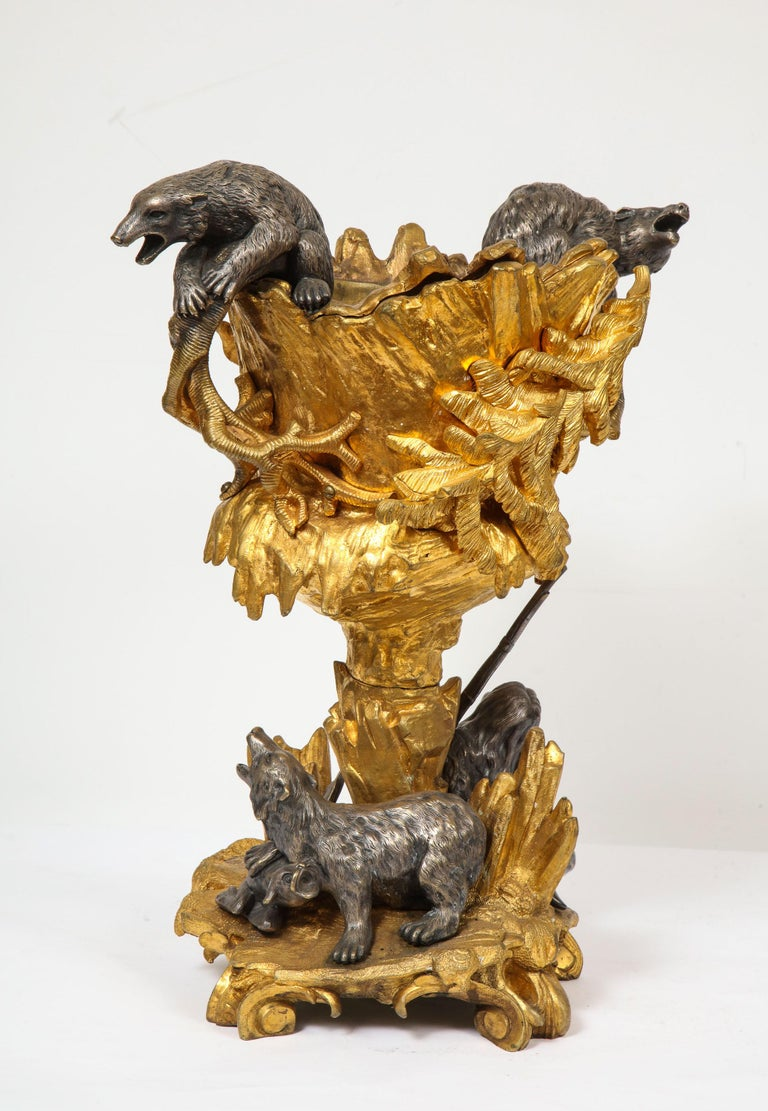 Important Ormolu and Silvered Bronze Figural Wine Cooler, Possibly Russian, 1860 For Sale 2