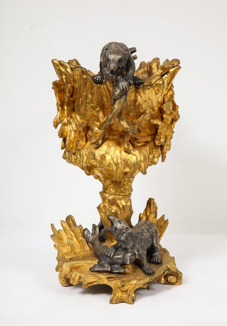 Important Ormolu and Silvered Bronze Figural Wine Cooler, Possibly Russian, 1860 For Sale 5