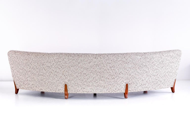 Important Otto Schulz Curved Four-Seat Sofa for Boet, Sweden, Mid-1940s For Sale 4