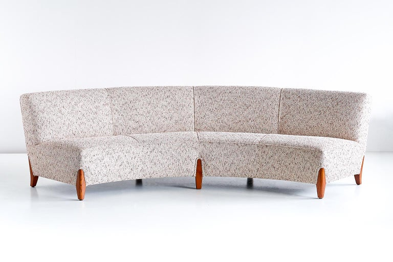 Important Otto Schulz Curved Four-Seat Sofa for Boet, Sweden, Mid-1940s For Sale 6