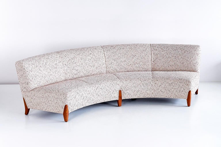 Swedish Important Otto Schulz Curved Four-Seat Sofa for Boet, Sweden, Mid-1940s For Sale