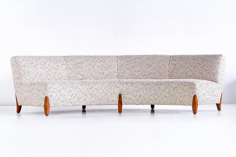 Mid-20th Century Important Otto Schulz Curved Four-Seat Sofa for Boet, Sweden, Mid-1940s For Sale