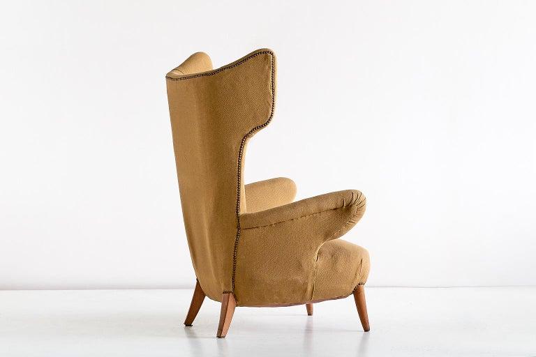 Important Ottorino Aloisio Wingback Chair, Colli Turin, Italy, 1957 For Sale 3