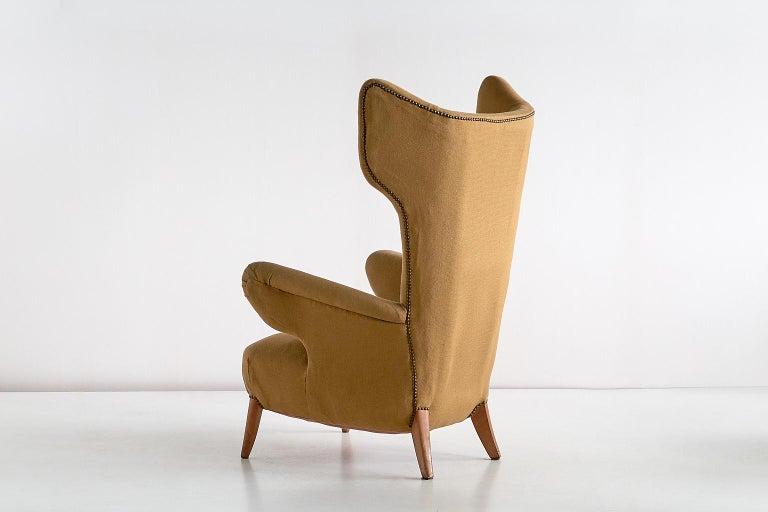Important Ottorino Aloisio Wingback Chair, Colli Turin, Italy, 1957 For Sale 4