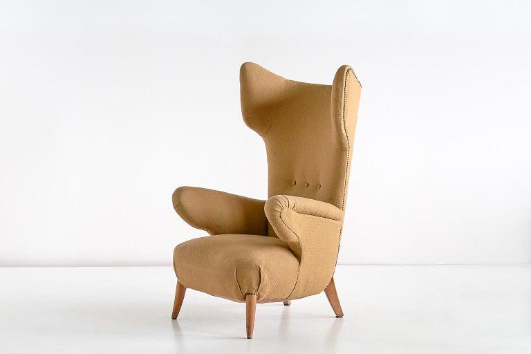 Important Ottorino Aloisio Wingback Chair, Colli Turin, Italy, 1957 For Sale 5