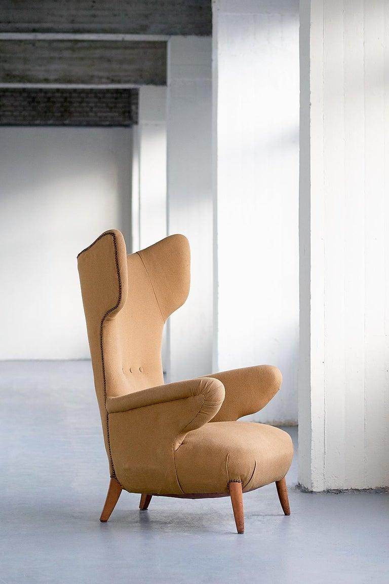 Mid-Century Modern Important Ottorino Aloisio Wingback Chair, Colli Turin, Italy, 1957 For Sale