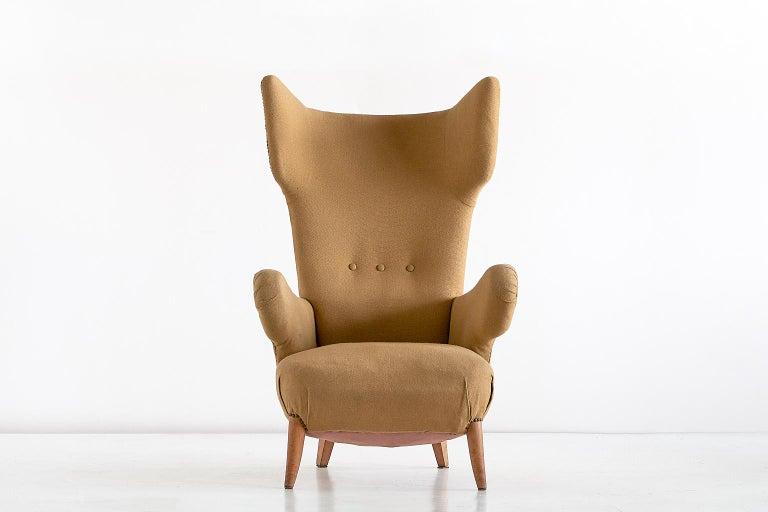 Italian Important Ottorino Aloisio Wingback Chair, Colli Turin, Italy, 1957 For Sale