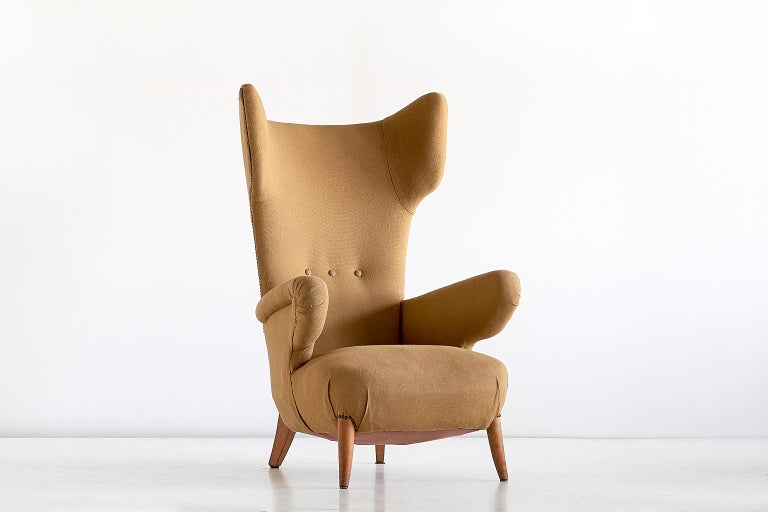 Mid-20th Century Important Ottorino Aloisio Wingback Chair, Colli Turin, Italy, 1957 For Sale