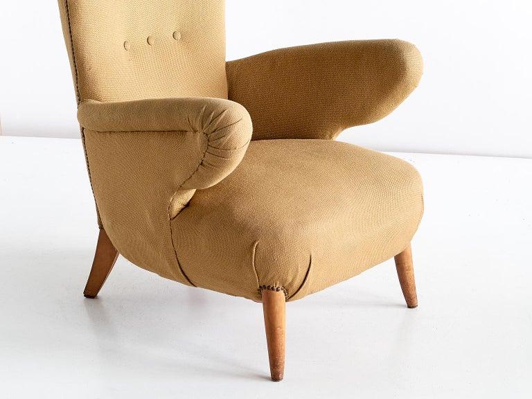 Fabric Important Ottorino Aloisio Wingback Chair, Colli Turin, Italy, 1957 For Sale
