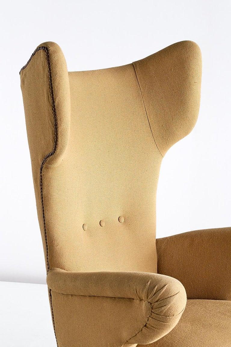 Important Ottorino Aloisio Wingback Chair, Colli Turin, Italy, 1957 For Sale 2