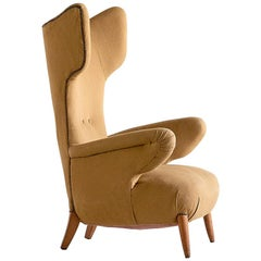 Important Ottorino Aloisio Wingback Chair, Colli Turin, Italy, 1957