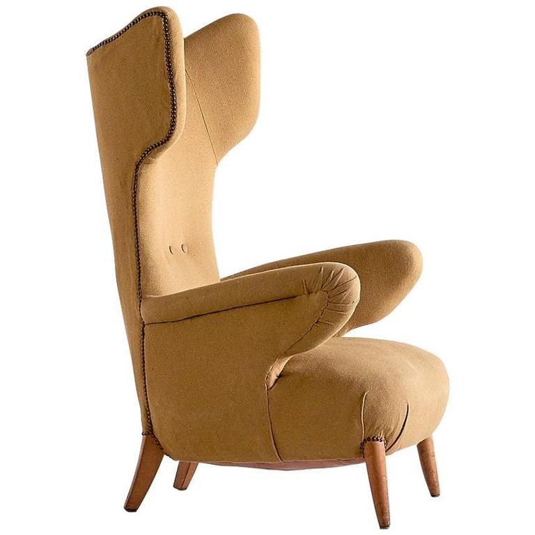 Important Ottorino Aloisio Wingback Chair, Colli Turin, Italy, 1957 For Sale