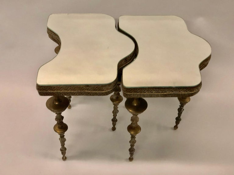 Mid-Century Modern Important Pair of Italian Modern Neoclassical Bronze Side Tables by Gio Ponti For Sale